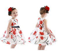 Korea style 2014 spring summer fashion casual high quanlity baby girl dress princess lovely flower girls dresses with belt