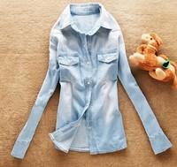 Spring in 2014 New European Style Women Denim Blouse Slim Jeans Shirt Lady's Elegant Heigh Quality Blouse Women's Denim Shirt