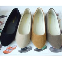 Free shipping big size 35-39 women's flat shoes fake suede ladies ballet shoes16 colors casual mother shoes women Factory price