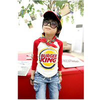 New 2014Children Clothing Kids Fashion New Long-sleeved Cotton T-shirt Spell color Cartoon Autumn and Spring Free Shipping