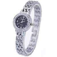 Luxury Silver Fashion Black Face Ladies Girls Women's Bracelet Quartz Waterproof Crystal Gifts Wrist Watches, Free Shipping