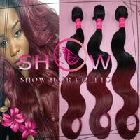 Grade 5A,#1BT99J Two tone color human hair weave bundles, malaysian body wave ombre virgin hair extensions,3/4pcs lot
