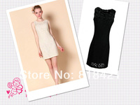 2014 summer plus size fashion slim sleeveless cutout basic vest lace one-piece dress