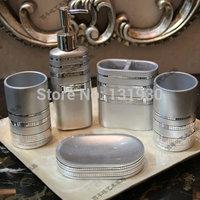 Free shipping silver bathroom set high-class resin 5 pcs/set bathroom accessories bath kit BXG-5