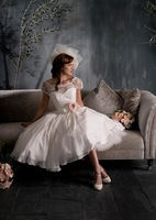 Cheap Price ! 2015 New Free Shipping A Line Elegant Tea Lenght Cap Sleeves White / Ivory Organza Wedding Dresses OW2043 In Stock