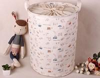 Round Jute and canvas  Dirty Clothes Casket Laundry basket  Round dot design have  tighten belt box D35*H45cm