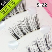 Free shipping  HANDMADE 5 Pair  False Eyelashes NATURAL curling eyelashes  BLACK 5-22