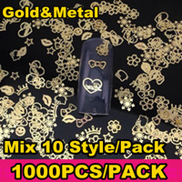 1000pcs/pack(Mix Random 10 Style) Gold Nail Art Metal Sticker Decoration,  17 Style Available + Free Shipping