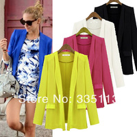 2014 New Lemon/Blue/Black/White 4 Color 4 Sizes OL Ladies Women Fashion Jacket Blazer Suit Outwear