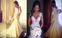2014 New Arrival Vestido De Noiva Sexy Cap Sleeves Pearls Beads Mermaid Charming Lace Wedding Dresses bride dress Free Shipping