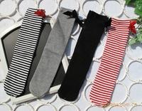 Solid white black white red striped baby girl kids knee high princess boot socks, child leg warmer long socks, 24pairs/lot