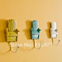 New Fashion!3pcs/lot European Painted Wall Hook Lovely Chair Shape Coat & Bag Holder Heavy Duty Wall & Door Hook Home Decoration