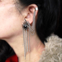 E341 2014 New Arrival Fashion Metal Fireworks Tassel Ear Cuff Earring Ear Clip For Women Free Shipping 12pcs/lot