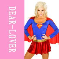 Superwoman Costumes Women Hero Costume Wholesale, Supergirl Deluxe Costume LC8349 fantasy halloween women