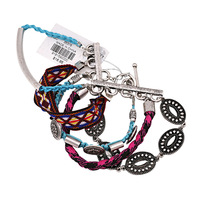 wholesale fashion Vintage silver leather national ethnic bracelet for women free shipping 140303