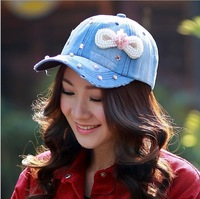 Free shipping 1 pcs 2014 Korean prevented bask in denim baseball cap women pearl flower retro hats 4 colors