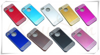 Free Shipping Deluxe Laser Diamond Brushed Aluminum Hard Case  Skin Cover  For iPhone 4 4S