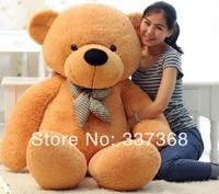 "Fast shipping 5.3 FEET TEDDY BEAR STUFFED GIANT JUMBO 63"" size:160cm Dark Brown white pink Light brown"