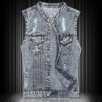 2014 Spring Summer European Style Fashion Man's Ripped Hole Blue Denim Vest Coat , Cool Casual Jeans Jackets For Men , Waistcoat