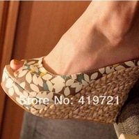 2014 explosion in Bohemia tidal straw platform new style wedge heel sandals lady's fashion sexy party shoes round peep open toe