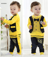 2014 children's spring clothing boy child autumn girls clothing vest bow tie set long sleeve set tshirt and pant free shipping