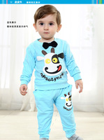 Pipkin cattle 2014 children's spring and autumn clothing child baby clothes cartoon baby set hoodie and pants free shipping