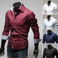 2014  Men's  Slim Fit Stylish shirt , cute button design dress shirts,Colour  5  Colors M-3XL 9022