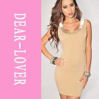 Mocha Silver Jeweled Accent Low Back Sleeveless Dress LC2885 captivating women dresses