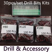 """30PCS/set Drill Bits Kits Nail Drill Set Shank 3/32"""" Manicure and Pedicure Dropshipping + 300pcs Sanding Bands + Free Shipping"""