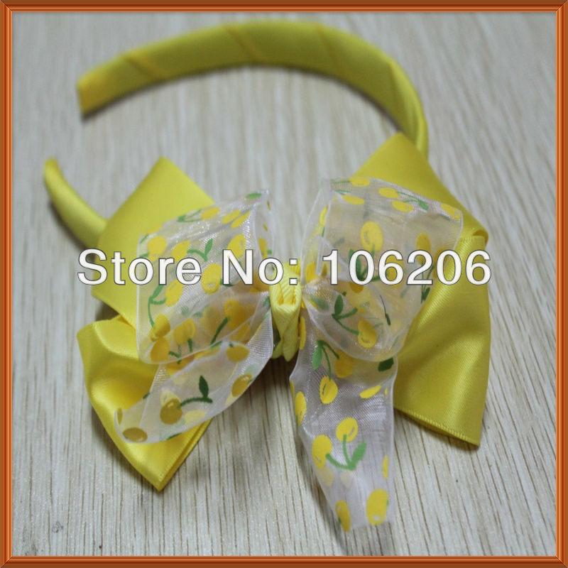 Beautiful yellow grosgrain ribbon flower baby headband(China (Mainland))