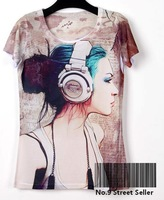New Vintage Retro Rock&Roll Punk T-shirt Top Tee Quiet Fashion Girl Like Listen to Music