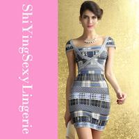 New Arrival Brisk Plaid Bateau Neck Celebrity Bandage Dress LC28070