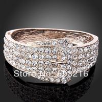High Quality Clear Crystal 18 K Gold Plated Promotion Newest Design Fashion Imitation Diamond Bangle