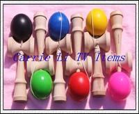 Free Shipping 300pcs/lot Professional Glossy Kendama Ball Japanese Traditional Wood Game Kids Toy PU Paint & Beech