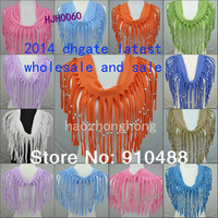 2014 latest  style fashion scarf  infinity scarf   beaded shawl scarf  tassel beaded scarf  9 colour  mix free shipping HJH0060