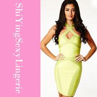 Neon Green Keyhole Womens Bandage Dress LC28068 women sexy dress new fashion dresses