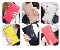 Women wallet Golden Bowknot Long PU Leather Card Holders Clips Flower Case clutch Purse Long Hand Bags Free shipping 2014