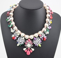 Shourouk hand knitted pearl rainbow color stone necklace brand luxury high quality pendants for women 2014 statement