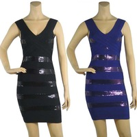 Free Shipping  Women's Black & Blue Spaghetti Strap Bandage Dress HL Shining Studed Sequins Celebrity Prom Cocktail Party dress
