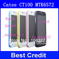 "Free shipping Original Catee CT100 MTK6572 dual core Android 4.2 mobile Phone 4.5"" capacitive screen 3G WCDMA GSM Russian/Oliver"