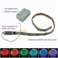 wholesale 2 pcs 5050RGB led strip 50CM 15 leds waterproof with mini controller N battery box dim