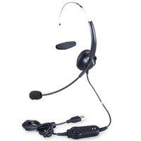 Hion U60 USB professional headset for call center,earphone,headphone with Volume Control USB plug telephone headphone