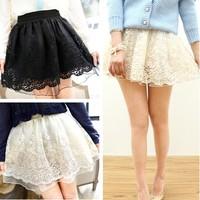 2014 new Lace crochet gauze basic puff bust princess skirt  black beige free shipping