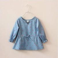 2014 spring new girls casual jean shirt dress with printed elk girls cotton shirts dress kids shirts children dress