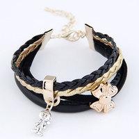 2014 Retro Metal Butterfly Pendant Joker Girl Bracelet Leather Multi- Bangle For Woman Jewelry Wholesale