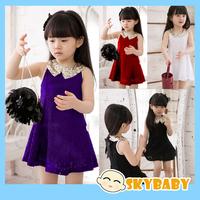 New 2014 Wholesale Elegant Girls Party Dress Purple Lace Girls Sequin Dress Kid's Summer Ball Gowns Dress For Children New Brand