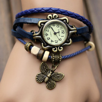 Fashion Cow Leather Strap Casual Vintage 2014 women's knitted leather butterfly watches bracelet watch  women's Dress Watches