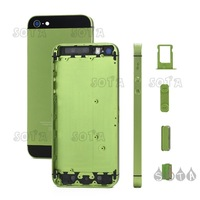 Free Shipping For iPhone 5 Plated Matte Metal Full Housing Faceplates w/ Side Buttons and SIM Card Tray - Black / Green
