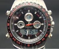 freeshipping 1pcs/lot 30M deep waterproof digital analog watch,with digital/quartz dual movement from Japan,PU plastic band