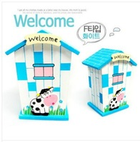 2014 Creative Home Decoration Saveing Money Box Pot Wood House Shape Birthday Gifts For Kids free shipping